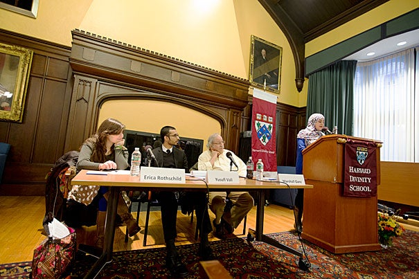 """Harvard Divinity School student Usra Ghazi (at podium), a junior fellow at the Center for the Study of World Religions, moderated a panel titled """"Faith-Based Community Organizing: How Working With the Religious Other Can Save the World."""""""