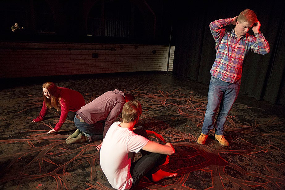 "Taylor Phillips '13 (from left), Matt Bialo '15, Teis Jorgensen '14, and Jonathan ""J.J."" Longcroft '15 rehearse together."