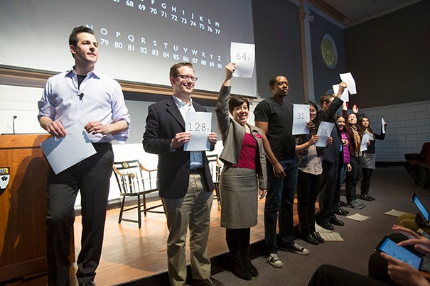 In a new master class series at the Harvard Graduate School of Education, David Malan (left) used audience participants to demonstrate what goes into creating memorable learning experiences for students.