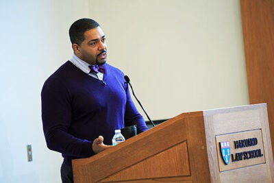 David Otunga, J.D. '06, told his Harvard Law School audience that he was encouraged by his mother to get an education first, but she also supported his acting career. Otunga was the keynote speaker at the Committee on Sports and Entertainment Law's 2014 symposium.
