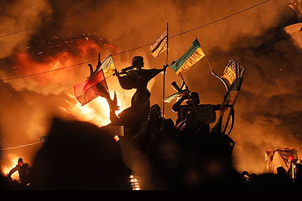 Monuments to Kiev's founders burned as anti-government protesters clashed with riot police. Serhii Plokhii, director of Harvard's Ukrainian Research Institute, explained what's behind the violence and what's at stake for a country that's caught in a tug-of-war between Europe and Russia.