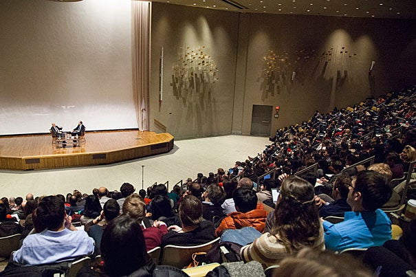 Nobel laureate, psychologist, and best-selling author Daniel Kahneman joined Cass Sunstein, Harvard's Robert Walmsley University Professor, for a wide-ranging discussion on behavioral science Tuesday at Harvard Business School.