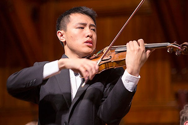 """He asked me if I'd be willing,"" recalled Max Tan '15 of his invitation from Benjamin Zander, ""and I was thinking, 'You want me to do what?' "" Tan will perform the Barber Violin Concerto on March 7 with the Boston Philharmonic Youth Orchestra, conducted by Zander."
