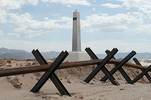 "For seven years, David Taylor photographed the 276 monuments marking the U.S.-Mexico border, documenting the people and experiences he encountered along the way. ""Border Monument No. 227"" (photo 1), ""Seized Marijuana Bales, Arizona"" (photo 2), and ""Border Monument No. 195"" (photo 3) are among the collection on display at the David Rockefeller Center for Latin American Studies."