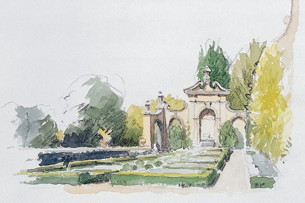 """The Hanging Gardens at Villa I Tatti"" is among many Steve Ziger watercolors illustrating the oral history site (photo 1). Bernard Berenson, in 1903, stands in front of a favorite painting (photo 2). The Berenson library was a coveted refuge for visitors (photo 3)."