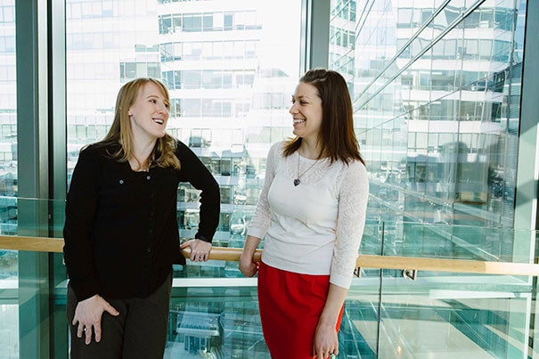 Harvard stem cell scientists Tracy Young-Pearse (left) and Christina Muratore have converted skins cells from patients with early onset Alzheimer's into the types of neurons affected by the disease, making it possible to study Alzheimer's in living human cells.