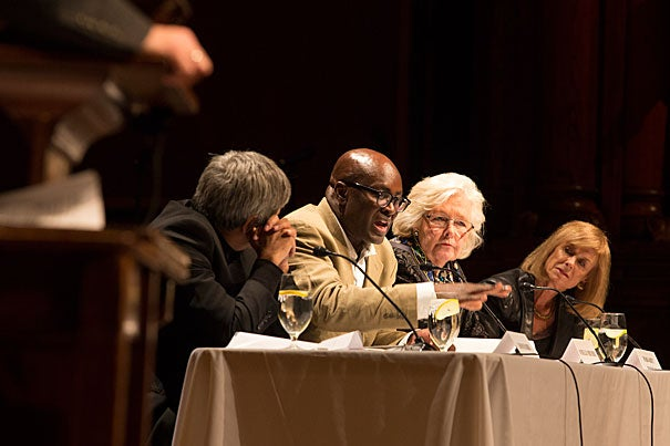 Scholars and leading Africanist thinkers gathered Tuesday to reflect on the life and legacy of the late Nelson Mandela. One of the panels included Adam Habib (from left), Achille Mbembe, Margaret Marshall,  and Jean Comaroff.  President Drew Faust gave the opening remarks.