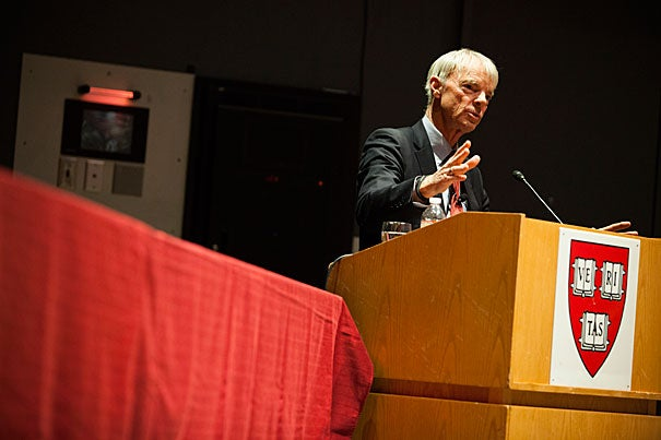 Nobel Prize-winning economist Michael Spence spoke at the Science Center on Tuesday before a crowd of several hundred. The lecture, sponsored by the Harvard University Center for the Environment and the Harvard China Project, was first in a series on energy, climate, and development in China over the next 20 years.