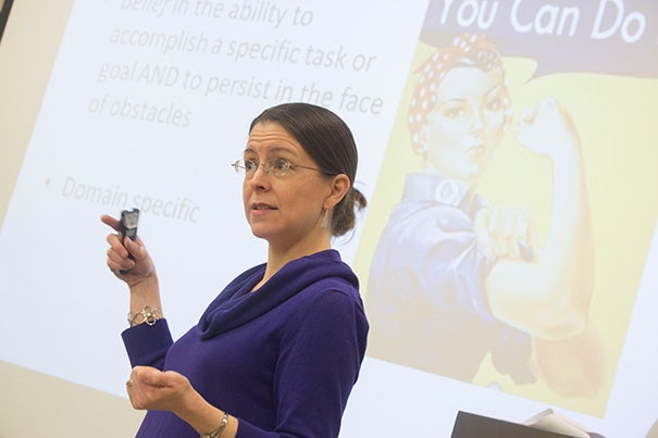 Suzanne Bouffard (photo 1), a researcher and writer with the Harvard Graduate School of Education, addressed Cambridge public school educators as part of a professional development class through Harvard's Project Teach. Also in attendance were Manuel Fernandez  (from left, photo 2), who is head of school at Cambridge Street Upper School, Claire Lee, a student at the Ed School, and Betsy Preval, a teacher from the Cambridge Street Upper School.