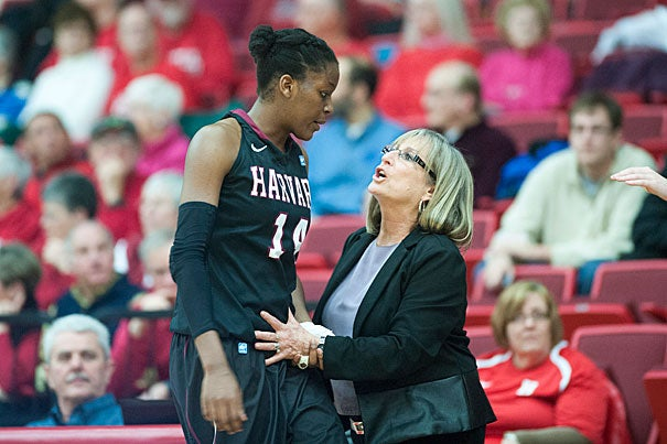 Harvard women's basketball player Temi Fagbenle '15 with head coach Kathy Delaney-Smith. Both women are breaking records.