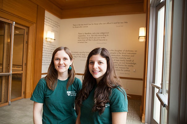 "Harvard Environmental Law Society co-presidents Genevieve Parshalle '15 (left) and Cecilia Segal '15 curated the framework of the National Association of Environmental Law Societies Conference around environmental justice, which, said Segal, ""is more interdisciplinary and touches on things like social justice, civil rights."""