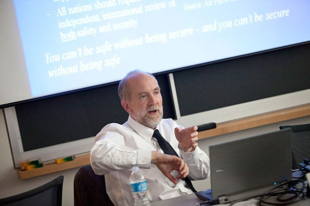 """""""Unfortunately, the global … framework for nuclear security is quite weak,"""" said Matthew Bunn, professor of practice at Harvard Kennedy School and co-principal investigator for the Project on Managing the Atom, a nuclear research and policy program at the Belfer Center for Science and International Affairs."""