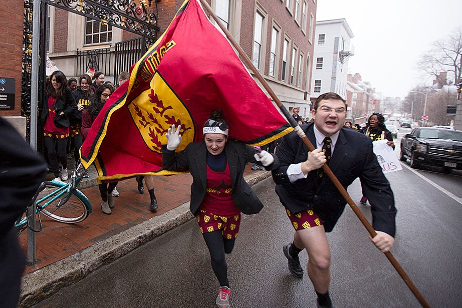 Housing Day intensity begins at Adams House with this spirited charge on the Yard. Rose Lincoln/Harvard Staff Photographer