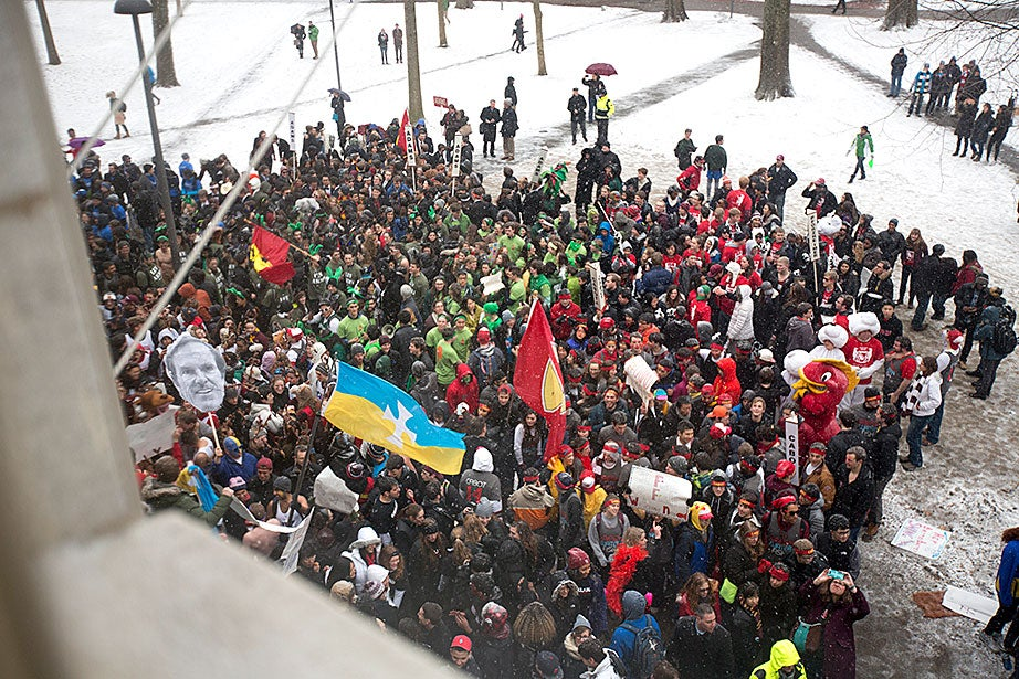 The view from inside University Hall shows a raucous display on Housing Day. Rose Lincoln/Harvard Staff Photographer