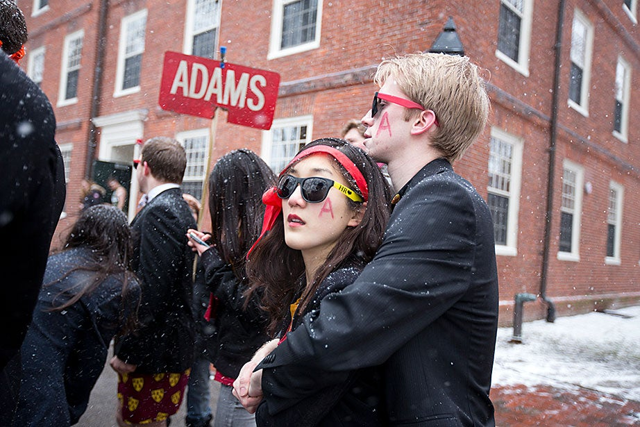 Pamela Chen and Sam Wattrus of Adams House try to stay warm in a frosted Harvard Yard. Rose Lincoln/Harvard Staff Photographer