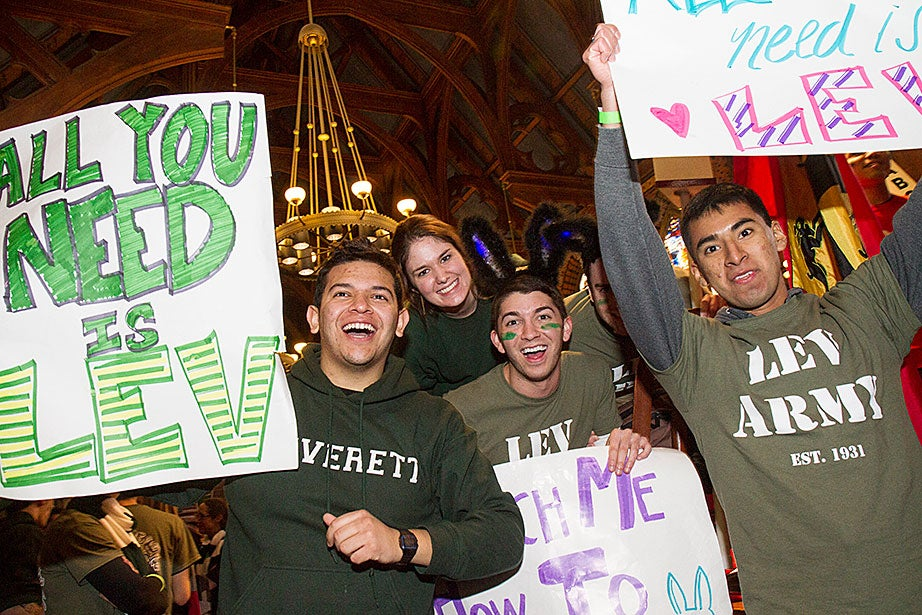 Miguel Perez-Luna '15 (left) and Erick Juarez '15 (right) join Leverett housemates as they make some noise inside Annenberg. Jon Chase/Harvard Staff Photographer