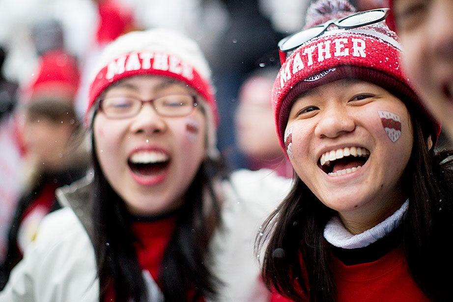 Mather residents Carrie Tian (left) and Ruth Fong celebrate. Rose Lincoln/Harvard Staff Photographer