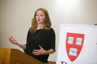 "In describing the basis of her website and app, Impossible.com, Lily Cole asked her Harvard Law School audience to consider this: ""Imagine everybody in this room was there to support you. ... Imagine if everybody in the world you knew would support you if you needed it. The small price to pay is that where you see the opportunity to help another, you can and you do."""