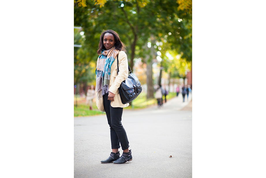"""""""I have labs today — I'm an engineering student — so my wardrobe is very limiting. I have to wear trousers and flats,"""" said sophomore Yinka Ogunbiyi '16. """"I like items that don't really make sense, like this sweater-coat-cardigan; it has a lot of hidden pockets."""""""