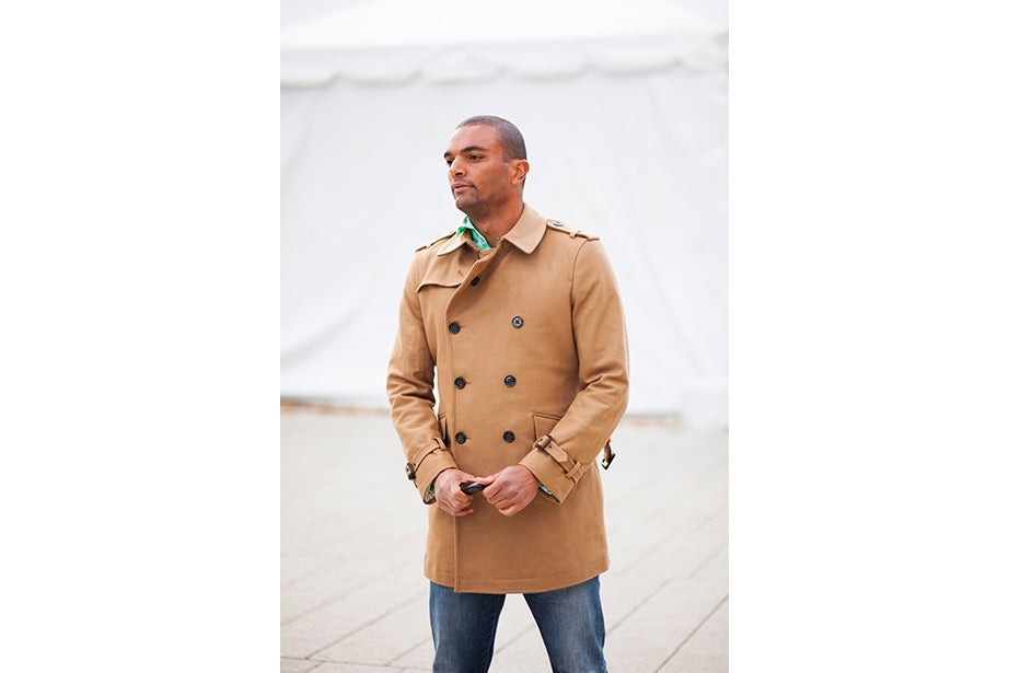 """Before his visit back to Cambridge, alum Ellison Weeks, Ed.M '11, who now lives in California's Bay Area, went shopping. """"I remembered how cold it was here, and I needed a new jacket, and I saw this one and loved the color and the camel wool. After coming to New England, my style is a bit preppier. I grew up a bit here."""""""