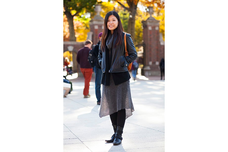"""""""These are my usual colors for fall and winter. Not just dark, but I have a lot of layers and colors. Kind of like the changing leaves, you have to have a lot of shades of the same spectrum,"""" said Hong Kong native Janny Leung, a visiting scholar at the Yenching Institute."""