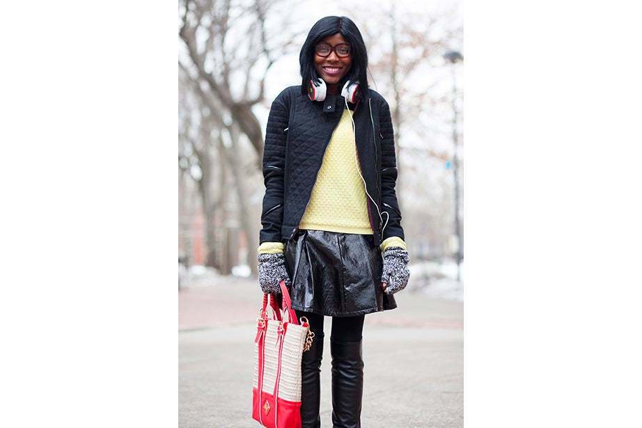 """""""Yellow makes me happy and it's so dreary. I wanted to cheer myself up,"""" said second-year Harvard Law School student Fatima Mohammed."""