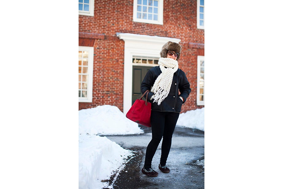 """""""This is too cold for me!"""" said Louise Robin, an au pair from Corsica, France, and a student at Harvard Extension School. But she does embrace the snow while it's here — she has several snow tubing and snowboarding trips planned."""