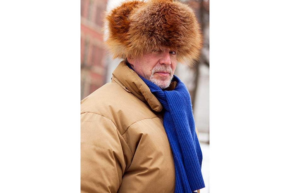 """Tony Rothman, a teaching assistant in general education, bought his hat from a market in Moscow, where he lived off and on for more than 15 years. """"As they say in Russia, there's no such thing as bad weather, just bad clothes."""" And as for his head temperature: """"It's hot."""""""