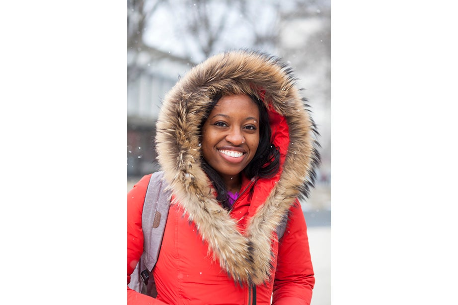 """""""This coat keeps me very warm,"""" remarked freshman Osaremen Okolo from Canton, Mass. """"This is the worst winter we've had in a while. Usually there's one big snowstorm. Now it's like every day."""""""