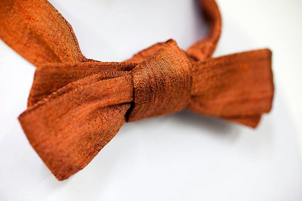 The trademark bow ties worn by architect Walter Gropius are housed in the Special Collections of Frances Loeb Library at Harvard University Graduate School of Design. One from the set of six is pictured. Stephanie Mitchell/Harvard Staff Photographer