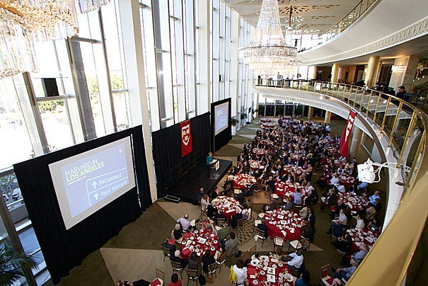 "President Drew Faust opened the Your Harvard luncheon at the Dorothy Chandler Pavilion in Los Angeles by sharing her vision of Harvard, while encouraging alumni to remember what Harvard gave them (photo 1). FAS Dean Michael D. Smith (photo 2) shared his views with Harvard alums during the L.A. event. Beth Altringer, lecturer on innovation and design, spoke about empowering students in her class ""The Innovators' Practice""  (photo 3)."
