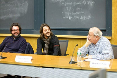 "After a screening of their new film ""Cesar Chavez,"" director Diego Luna (center) and producer Pablo Cruz (left) spoke with Marshall Ganz, a senior lecturer in public policy at the Harvard Kennedy School who worked with Chavez in the 1960s. ""Nothing has been so personal in my life,"" said Luna about telling Chavez's story."