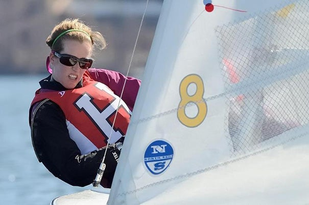 Isabel Ruane '14 crewed a Crimson vessel at the Team Race Invitational this past weekend.
