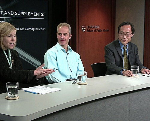 """""""Many consumers have no idea how much sugar and salt is in their food,"""" said Professor JoAnn Manson (from left), who believes the new food labels will pressure food manufacturers to address the issue. Joining Manson for the HSPH forum discussion """"Sugar, Salt, and Supplements: Sorting the Science""""  were Associate Professor Dariush Mozaffarian and Professor Frank Hu."""