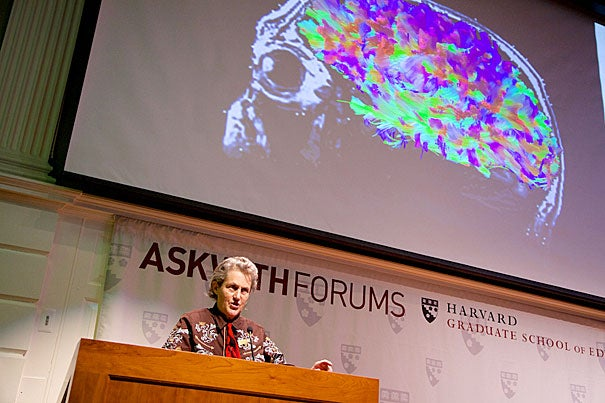 """""""In special education, there's too much emphasis placed on the deficit and not enough on the strength,"""" said the Boston-born Temple Grandin at Askwith Hall"""