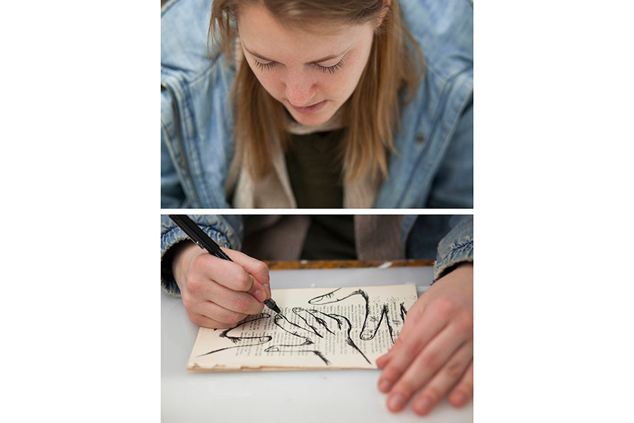 Brooke Griffin '14 organized her thesis around sign-language poetry. She created a mixed-media animation using watercolor, pen and ink, and tea leaves to explore the theme.