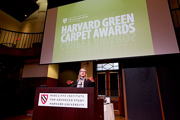 """""""One of our goals as a university must be to develop replicable solutions that can be applied inside and outside Harvard,"""" said Office for Sustainability Director Heather Henriksen, during the Green Carpet Awards held earlier this week at Radcliffe's Knafel Center."""