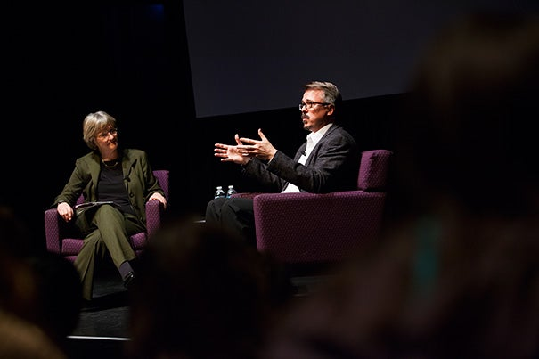 """""""We tried to be novelistic, we tried to write ourselves into inescapable corners,""""  """"Breaking Bad"""" creator Vince Gilligan told Harvard President Drew Faust in a talk about the acclaimed series starring Bryan Cranston (photo 2)."""