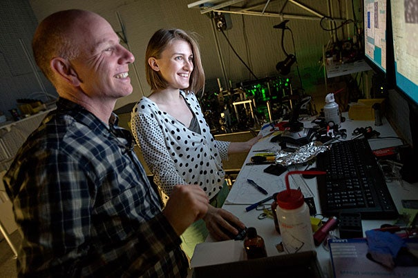 Professor of Physics and of Applied Physics Amir Yacoby (left, photo 1) and physics research assistant Yuliya Dovzhenko work in the lab where Yacoby (photo 2) and his colleagues have developed an MRI system that can produce nanoscale images.