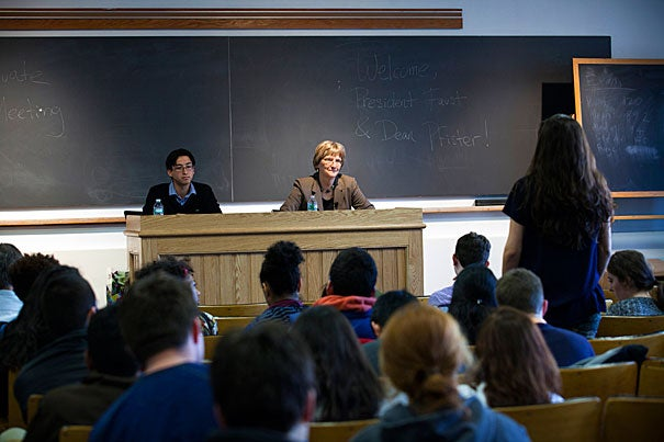 During a talk with the Harvard Undergraduate Council, Harvard President Drew Faust (photo 1) discussed sexual assault policies, diversity and inclusion, queries about University investments abroad, and other issues. Interim College Dean Donald H. Pfister (photo 2) is heading a working group on the issues.