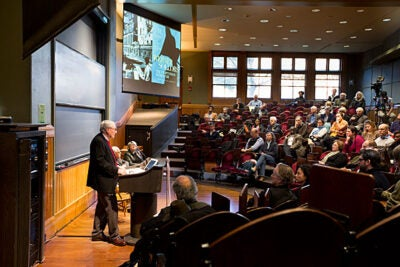 "Henry B. and Anne M. Cabot Professor of English Literature Werner Sollors' new book uses diaries, fiction, journalism, photographs, and movies to evoke what he called the ""raw"" feelings just after the war, and the atmosphere of a ruined nation. Sollors spoke Wednesday night during a talk sponsored by the Mahindra Humanities Center."