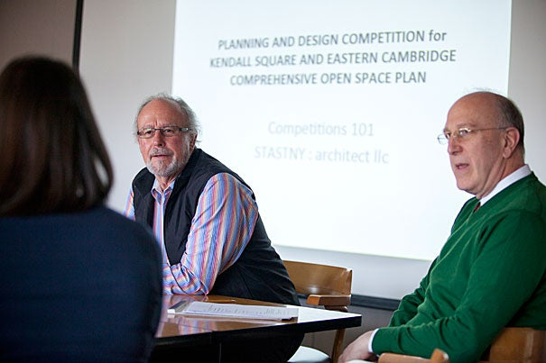 Donald Stastny (left), one of the country's leading design competition advisers, addressed students in GSD Professor Jerold Kayden's class, which focuses on the reality and ubiquity of design competitions.