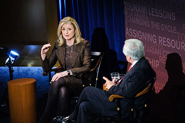 In an interview with Jay Winsten, the Frank Stanton Director of the Harvard School of Public Health's Center for Health Communication, Arianna Huffington urged a Harvard audience to unplug, get some sleep, and give to others, all as a way to get more out of life.