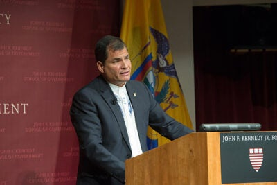 Ecuadorean President Rafael Correa  told his Kennnedy School audience that between 2007 and 2013, 1.13 million Ecuadoreans were lifted from poverty, and the incidence of extreme poverty fell from 16.9 percent to 8.6 percent, while growth averaged 4.2 percent per year.