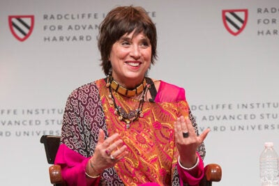 "Eve Ensler shared her story during the opening of the Radcliffe conference ""Who Decides? Gender, Medicine, and the Public's Health."""