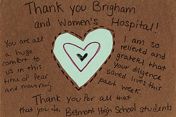 "In addition to the emergency response, the ""Strong Medicine"" archive captures the emotional support shown by many from around the country. ""Thank You"" was created by students at Belmont High School in Massachusetts (photo 1); a card from the Muslim American Society, San Antonio Chapter, sent ""brightest wishes, to say that we hope you get well soon"" (photo 2); and ""Pray for Boston"" included a handmade card from a student at Ojeda Middle School in Austin, Texas (photo 3)."