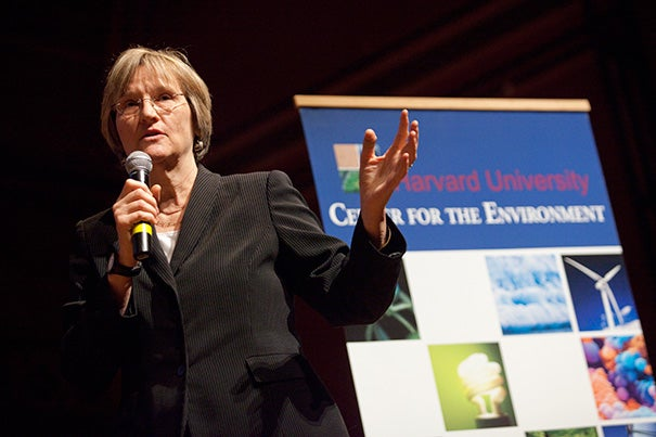 """President Drew Faust today challenged University alumni and friends to contribute toward a $20 million Climate Change Solutions Fund. """"Harvard has a vital leadership role to play in this work. As a university, it has a special obligation and accountability to the future, to the long view needed to anticipate and alter the trajectory and impact of climate change,"""" she said."""