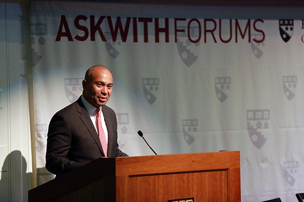 "Gov.  Deval Patrick gave the opening remarks at the Askwith Forum ""Leveling the Playing Field for Education."""