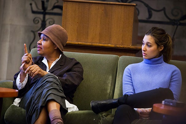 """As a participant in Harvard's first literary festival, Jamaica Kincaid (left) offered advice to aspiring writers. """"I always say the same thing: Keep reading and writing. The biggest mistake is in believing that somehow your writing must become 'successful.' It must be a desire. For all the money you can make, you might as well become a cook or a laundress, but even then, you can still write at night."""" Joining Kincaid for the Tuesday session were Samantha Perry David (right) and Johanna Berkman."""