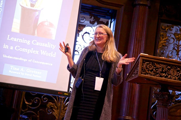 "Tina Grotzer (photo 1), an associate professor of education,  was among the 12 professors who delivered short talks on research or teaching in ""Harvard Lectures That Last."" Stephanie Paulsell (photo 2), a professor of the practice of ministry studies, shared a story on the ""anchoring of oneself in God."" Bjorn Olsen, a professor of cell biology, encouraged students to study rare disorders and watch as new insights emerge. ""If that is the only message you remember from this talk, then you've got it,"" he said."